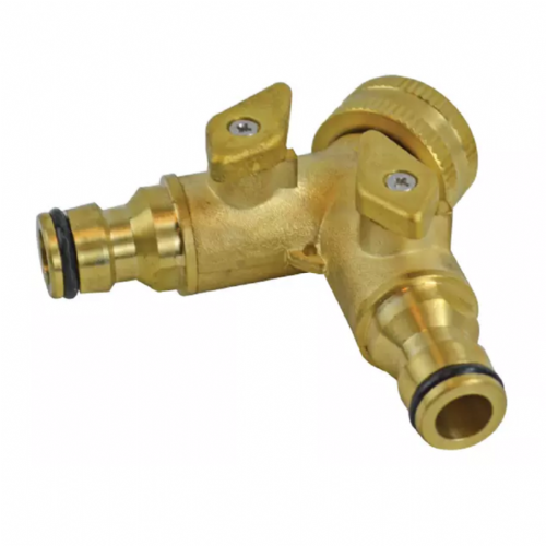 "Faithfull 2 Way Shut Off Valve 19mm (3/4"") to 2 x 12.5mm (1/2"")"